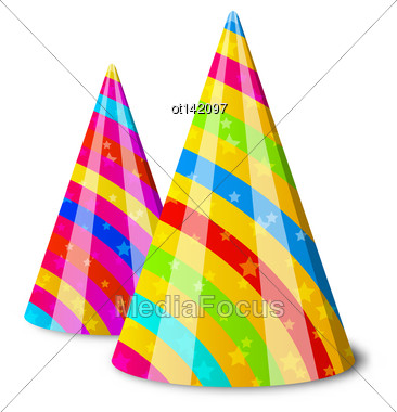 Illustration Colorful Party Hats For Your Holiday, Isolated On White Background - Vector Stock Photo