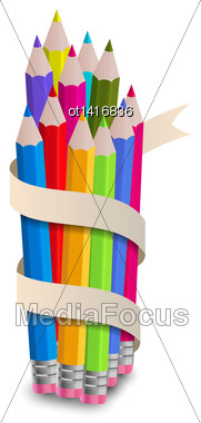 Illustration Colorful Pencils With Ribbon, On White Background - Vector Stock Photo
