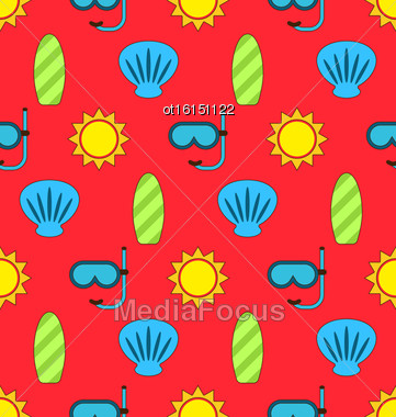Illustration Colorful Seamless Wallpaper Or Background With Icons Of Sun, Surf Board, Sea Shell, Diving Mask. Summer Pattern - Vector Stock Photo