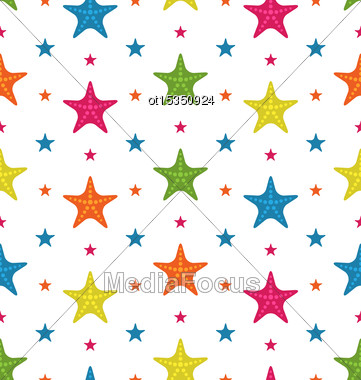 Illustration Colorful Starfishes, Summer Seamless Background - Vector Stock Photo