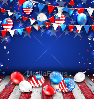 Illustration Colorful Template For American Holidays, Bunting, Balloons And Confetti. Space For Your Text. Traditional Colors Of USA - Vector Stock Photo