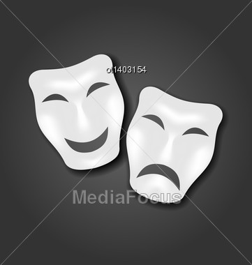 Illustration Comedy And Tragedy Masks For Carnival Or Theatre - Vector Stock Photo