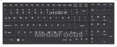 Illustration Computer Realistic Black Keyboard Ioslated On White Background - Vector Stock Photo