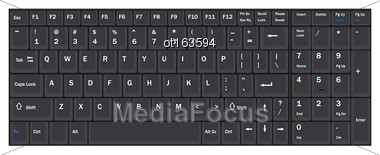 Illustration Computer Realistic Black Keyboard Isolated On White Background - Vector Stock Photo
