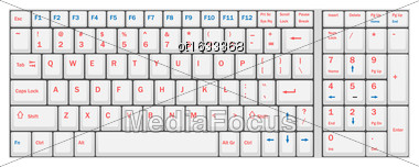 Illustration Computer Realistic White Keyboard Ioslated On White Background - Vector Stock Photo