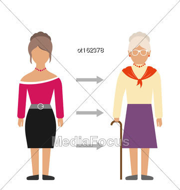 Illustration Concept Of Aging Process, Young And Old Woman, Comparison. Colorful People Isolated On White Background - Vector Stock Photo