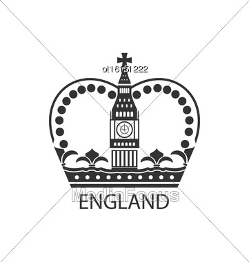 Illustration Concept Of British Crown Isolated On White Background - Vector Stock Photo
