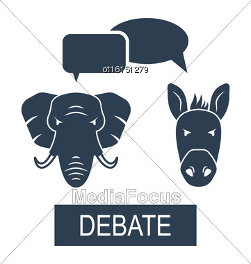 Illustration Concept Of Debate Republicans And Democrats. Donkey And Elephant As A Symbols Vote Of USA - Vector Stock Photo