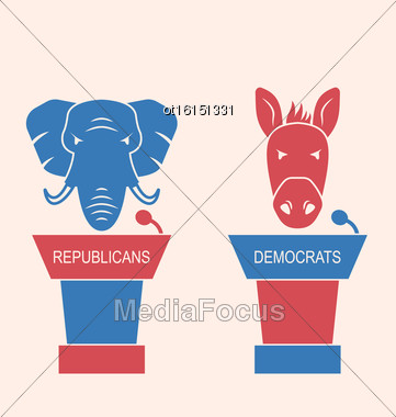 Illustration Concept Of Debate Republicans And Democrats. Donkey And Elephant As A Orators Symbols Vote Of USA. Retro Style Design - Vector Stock Photo