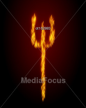 Illustration Concept Fire Trident On Black Background - Vector Stock Photo