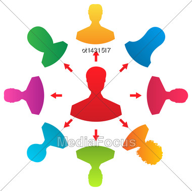 Illustration Concept Of Leadership, Colorful People Icons - Vector Stock Photo