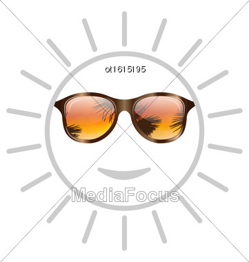 Illustration Concept Of Smile Sun With Sunglasses - Vector Stock Photo