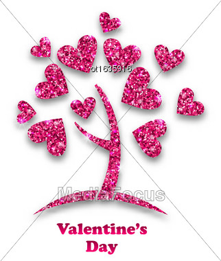 Illustration Concept Of Tree With Shimmering Heart Leaves For Valentines Day. Glitter Postcard - Vector Stock Photo