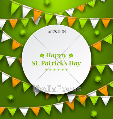 Illustration Congratulation Card With Bunting Hanging Pennants In Irish Colors And Clovers For St. Patricks Day - Vector Stock Photo