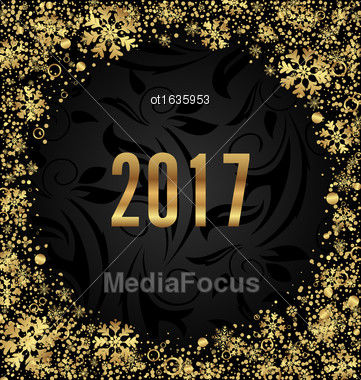 Illustration Cool Border With Golden Snowflakes Decoration On Black Background For Happy New Year 2017 - Vector Stock Photo
