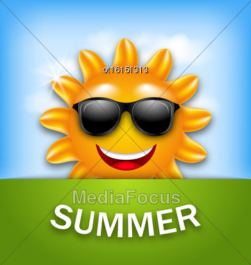 Illustration Cool Happy Summer Sun In Sunglasses - Vector Stock Photo