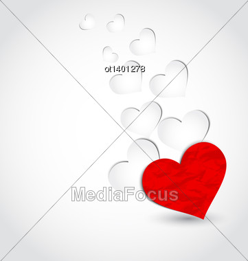 Illustration Crumpled Paper Hearts For Valentine's Day - Vector Stock Photo