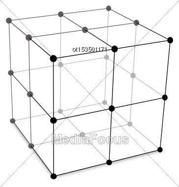 Illustration Cube Made Is Mesh Polygonal Element Connected Lines And Dots - Vector Stock Photo