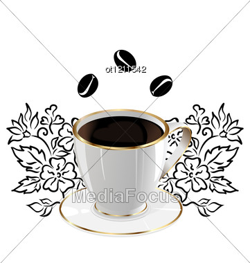 Cup Of Coffee Isolated With Floral Design Elements And Coffee Beans Stock Photo