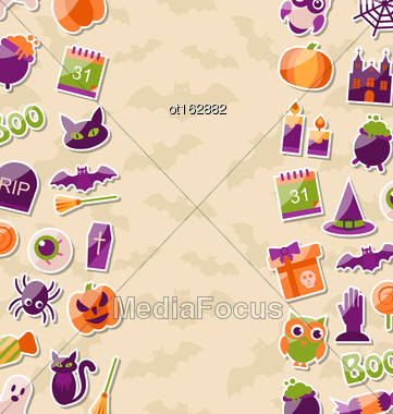 Illustration Cute Background For Halloween Party With Colorful Flat Icons - Vector Stock Photo