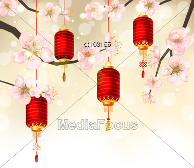 Illustration Cute Background With Sakura Blossom And Hanging Lanterns, Spring Japanese Festival, Place For Your Text - Vector Stock Photo