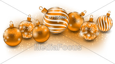 Illustration Cute Christmas Balls Isolated On White Background - Vector Stock Photo