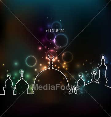 Illustration Cute Glowing Background With Mosque - Vector Stock Photo