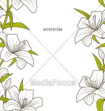 Illustration Cute Ornamental Seamless Texture With Lily Flowers. Hand Drawn Style. Nature Template - Vector Stock Photo
