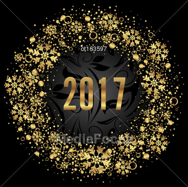 Illustration Cute Round Frame With Golden Snowflakes On Black Background For Happy New Year 2017 - Vector Stock Photo