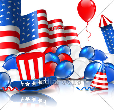 Illustration Cute Wallpaper In National American Colors With Balloons, Party Hats, Firework Rocket, Flag And Confetti - Vector Stock Photo