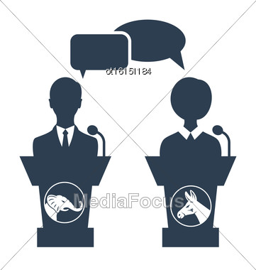 Illustration Debate Of Republican Vs Democrat. People Icons Isolated On White Background - Vector Stock Photo