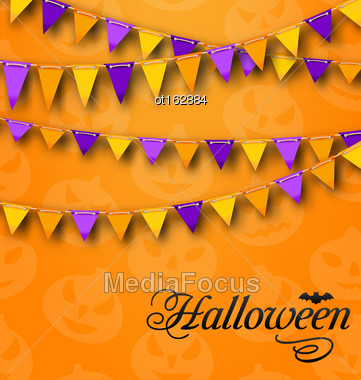 Illustration Decoration With Colorful Bunting Pennants For Halloween Party. Celebration Background - Vector Stock Photo