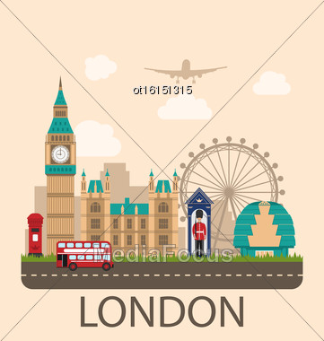 Illustration Design Poster For Travel Of England. Urban Background. Concept Of Travel And Tourism Banner. Famous Landmarks. Vintage Style - Vector Stock Photo