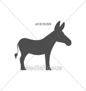 Illustration Donkey Silhouette Isolated On White Background - Vector Stock Photo