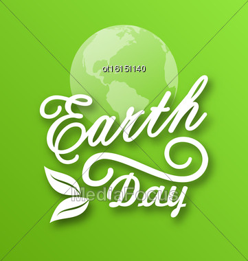 Illustration Earth Day, Words, Planets And Leaves - Vector Stock Photo
