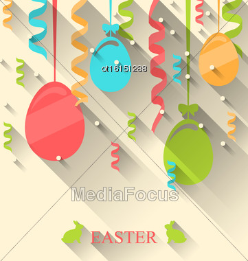Illustration Easter Background With Colorful Eggs And Serpentine, Trendy Flat Style With Long Shadows - Vector Stock Photo