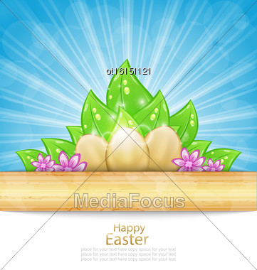 Illustration Easter Background With Eggs, Leaves, Flowers - Vector Stock Photo