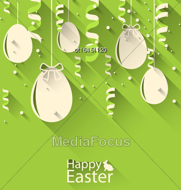Illustration Easter Background With Eggs And Serpentine, Trendy Flat Style - Vector Stock Photo