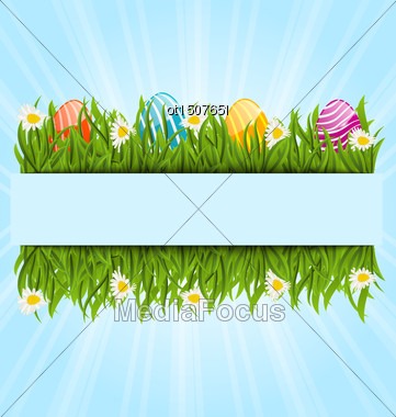 Illustration Easter Colorful Eggs And Camomiles In Green Grass With Space For Your Text - Vector Stock Photo