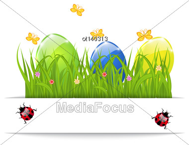 Illustration Easter Colorful Eggs In Green Grass With Space For Your Text - Vector Stock Photo