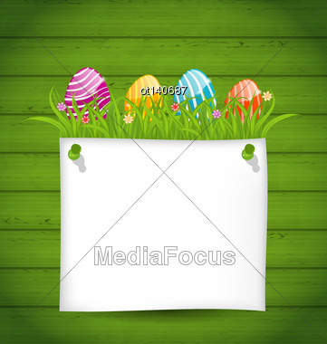 Illustration Easter Colorful Eggs In Green Grass With Empty Paper Card For Your Text - Vector Stock Photo