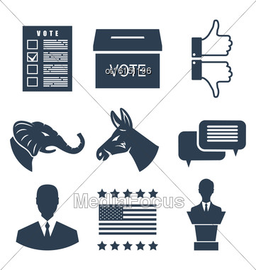Illustration Elections, Campaign And Voting Set Signs. Symbols Vote Of USA. Objects Isolated On White Background - Vector Stock Photo