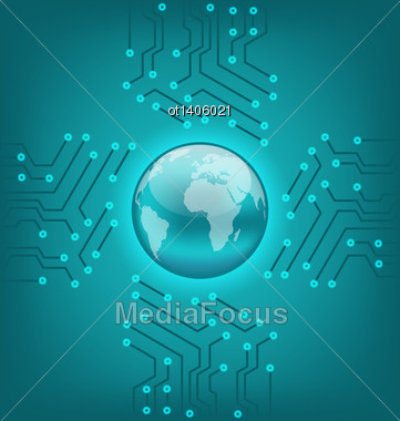 Illustration Electronic Circuit Board Texture With Earth Symbol - Vector Stock Photo