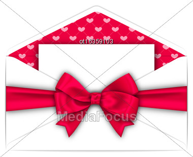 Illustration Envelope With Clean Card And Pink Bow Ribbon For Valentines Day. White Letter Isolated On White Background - Vector Stock Photo