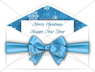 Illustration Envelope With Greeting Card And Blue Bow Ribbon For Merry Christmas. White Envelope Isolated On White Background - Vector Stock Photo