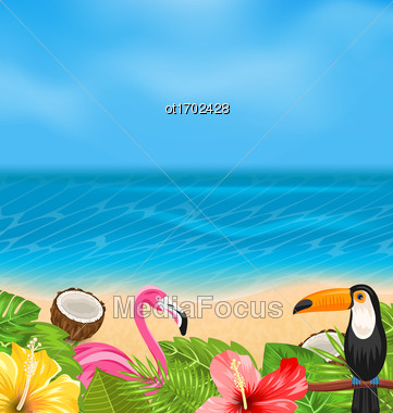Illustration Exotic Background With Toucan, Pink Flamingo, Tropical Flowers, Palm Leaves, Hibiscus, Coconut, Beach, Sea - Vector Stock Photo
