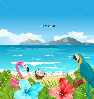 Illustration Exotic Wallpaper With Parrot Ara, Pink Flamingo, Tropical Flowers, Palm Leaves, Hibiscus, Coconut, Beach, Sea - Vector Stock Photo