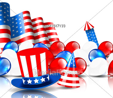 Illustration Festive Background In American National Colors - Vector Stock Photo