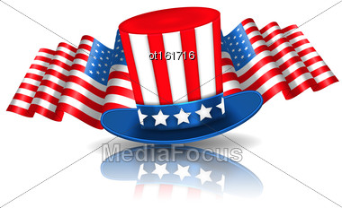 Illustration Festive Background In American National Colors With Uncle Sam Hat And Flags - Vector Stock Photo