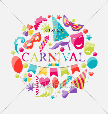 Illustration Festive Banner With Carnival Colorful Icons - Vector Stock Photo